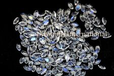 Natural Rainbow Moonstone 2x4mm Cut Marquise SI1 Blue Flashy Loose Gemstone Lot