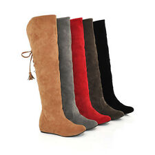 Women's Over Knee Shoes inner Heel Popular Winter Lace Up Boots All Size F018
