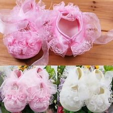 Kid Infant Newborn Baby Girls Princess Non-Slip Lace Flower Shoes Toddler DA