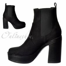 Womens Girls Classic High Heeled Chelsea Platform Ankle Boots Black Suede Size
