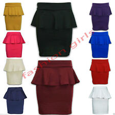 New Womens Ladies Peplum Frill Pencil Bodycon Short Mini Fitted Skirt Dress 8-14