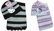 BNWT GIRLS HELLO KITTY WARM WINTER KNITTED HAT SCARF GIFT SET APPROX AGE 2-8 YRS