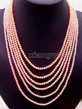 "SALE 3-4MM pink Coral 18-25""  6 Strands NECKLACE WITH Pink flower CLASP-ne5671"