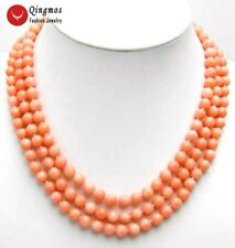 """SALE 3 Strands Pink 6-7mm High quality round Natural coral 17"""" necklace-nec5547"""