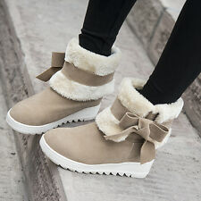 Free Womens Faux Suede Fur Lined Girls Bowknot Winter Snow Ankle Boots Plus Size