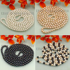 s072 Grade AA 7-8mm 8-9mm white Pink black Natural Akoya Pearl Necklace 50-100""