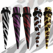 Taper Expander Stretcher Flesh Tunnel Animal Print Leopard Zebra Piercing Set