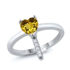 0.75 Ct Heart Shape Yellow Citrine 925 Sterling Silver Key Ring