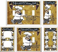 FAT CHEF NEVER TRUST A SKINNY CHEF LIGHT SWITCH COVER PLATE OR OUTLET V154
