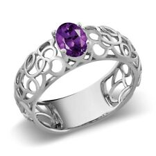 0.75 Ct Oval Purple Amethyst 925 Sterling Silver Ring (Size 5, 6, 7, 8, 9)