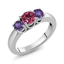0.98 Ct Round Pink Tourmaline Purple Amethyst 925 Sterling Silver Ring