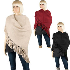 Winter Women Wool Knitted Thick Triangle Fringed Scarf Shawl Scarves Wrap Cape