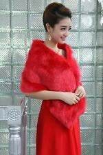 New Red Faux Fur Jacket Wrap Shrug Bolero Shawl Cape Bridal Wedding accessories