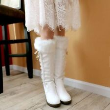 Winter Womens Knee High Mid-Calf Snow Boots High Wedge Heel Warm Fur Shoes Size