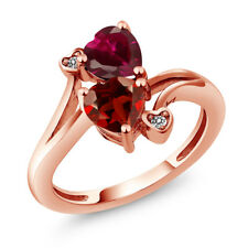 1.90 Ct Heart Shape Red Garnet Red Created Ruby 18K Rose Gold Plated Silver Ring