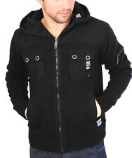 MENS THICK KNITTED FLEECE LINED SWEATSHIRT HOODY BY BRAVESOUL BLACK OR GREY