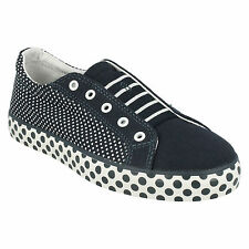 BRILL LACE GIRLS JUNIOR CLARKS F AND G FIT NAVY CANVAS POLKA DOT DESIGN SHOES