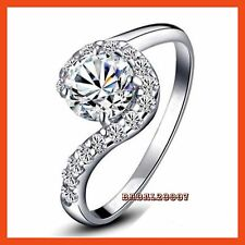 18K WHITE GOLD GP SILVER Wedding ENGAGEMENT RING SWAROVSKI CRYSTAL R099