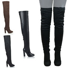 WOMENS BLOCK HEEL OVER THE KNEE HIGH LADIES PARTY STRETCH ZIP THIGH HIGH BOOTS