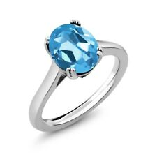4.03 Ct Oval Swiss Blue Topaz White Diamond 925 Sterling Silver Ring