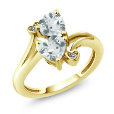 1.37 Ct Heart Shape Sky Blue Aquamarine 18K Yellow Gold Plated Silver Ring