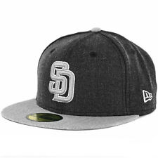 New Era 5950 Heather Action San Diego Padres Fitted Hat (Heather Black/Grey) Cap