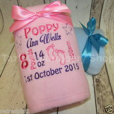 PERSONALISED BABY BLANKET EMBROIDERED BIRTH DETAILS NEWBORN CHRISTENING GIFT
