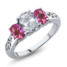 2.30 Ct Oval White Topaz Pink Mystic Topaz 925 Sterling Silver Ring