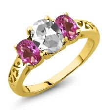 2.30 Ct Oval White Topaz Pink Mystic Topaz 18K Yellow Gold Ring