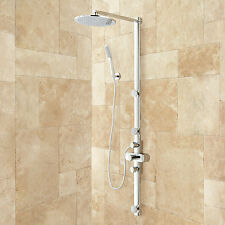 Correia Exposed Pipe Shower System with Rainfall Shower and Hand Shower