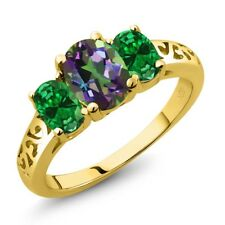 2.00 Ct Oval Green Mystic Topaz Green Simulated Emerald 18K Yellow Gold Ring