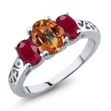 2.50 Ct Oval Ecstasy Mystic Topaz Red Ruby 925 Sterling Silver Ring