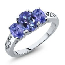 2.20 Ct Oval Purple Blue Mystic Topaz and Blue Tanzanite 14K White Gold Ring