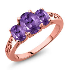 1.70 Ct Oval Purple Amethyst 18K Rose Gold Plated Silver Ring