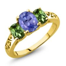 2.16 Ct Oval Blue Tanzanite Green Tourmaline 18K Yellow Gold Plated Silver Ring