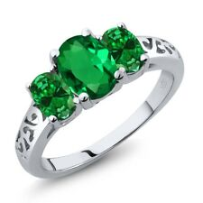 1.70 Ct Oval Simulated Emerald Simulated Emerald 925 Sterling Silver Ring
