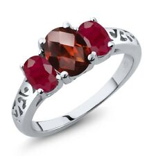 2.60 Ct Oval Checkerboard Red Garnet Red Ruby 14K White Gold Ring
