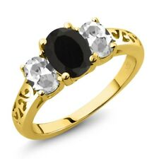2.25 Ct Oval Black Onyx White Topaz 18K Yellow Gold Ring