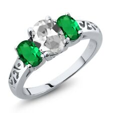 2.10 Ct Oval White Topaz Green Simulated Emerald 14K White Gold Ring