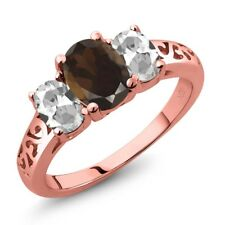 2.20 Ct Oval Brown Smoky Quartz White Topaz 18K Rose Gold Plated Silver Ring