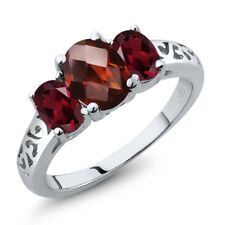 2.40 Ct Oval Checkerboard Red Garnet Red Rhodolite Garnet 14K White Gold Ring