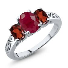 2.60 Ct Oval Red Ruby Red Garnet 18K White Gold Ring