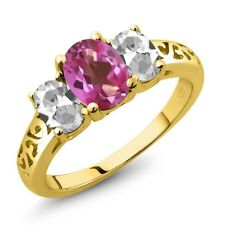 2.30 Ct Oval Pink Mystic Topaz White Topaz 14K Yellow Gold Ring