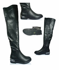 UK WOMENS RIDING LONG PULL ON KNEE HIGH LOW HEEL ZIP UPWINTER RIDING BOOTS SIZE