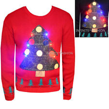 Mens Christmas Novelty Light Up Xmas Jumper Womens Christmas Sweater Knitted Top