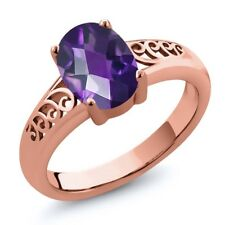 1.50 Ct Oval Checkerboard Purple Amethyst 18K Rose Gold Ring
