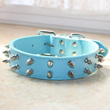 """1.2"""" Wide 2 Rows Spiked Studded Pet Dog Collar Medium Large Dog Pitbull Terrier"""