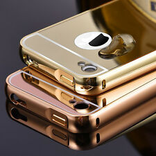 New Luxury Aluminum Metal Case Ultra Thin Mirror Back Cover Skin For iPhone 4 4s
