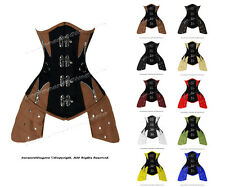 14 Full Steel Boned Heavy Lacing Leather Underbust Shaper Corset #8405A-LE