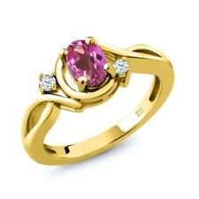 0.88 Ct Oval Pink Mystic Topaz White Topaz 14K Yellow Gold Ring